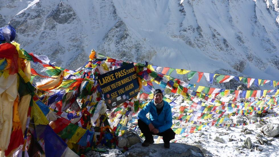 Nepal Gebetsfahnen auf dem Larke Pass