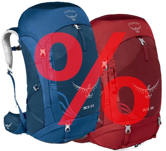 Osprey Ace 50 in blau und Ace 38 in rot.