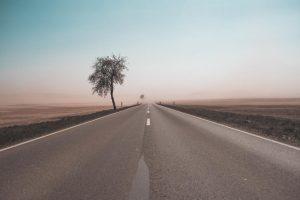 Eine Straße mit Baum im Nirgendwo