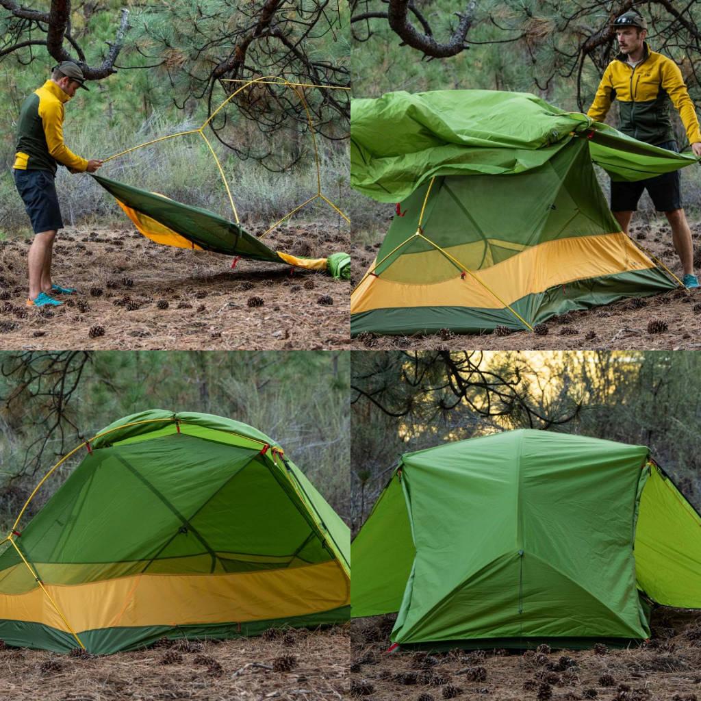 Das Zelt Lyra II von Exped wird aufgebaut